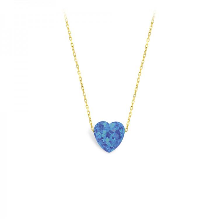 Altın Opal Kalp Kolye