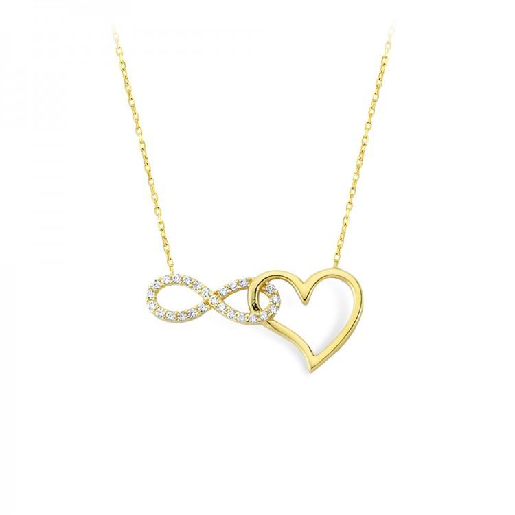 Altın Sonsuzluk Kalp Kolye