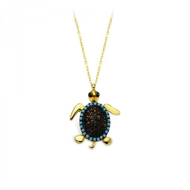Altın Firuze Taşlı Kaplumbağa Kolye