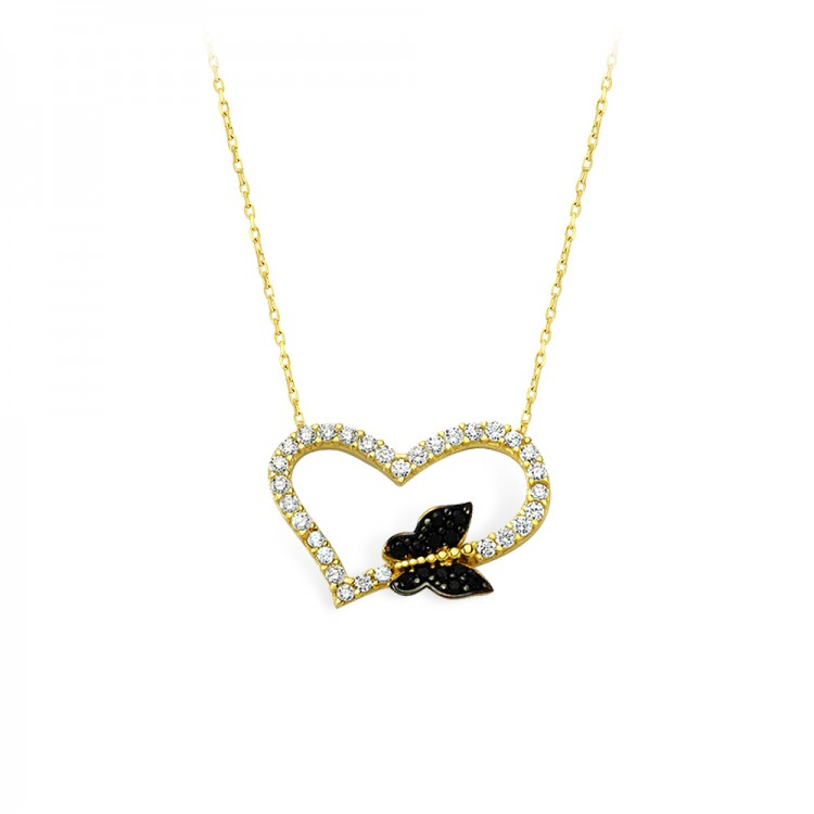 Altın Kalp Kelebek Kolye