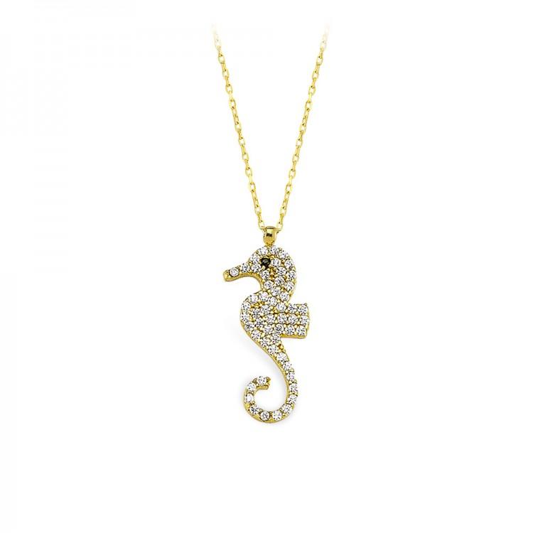 Altın Deniz Atı Kolye