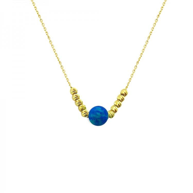 Altın Opal Taşlı Kolye