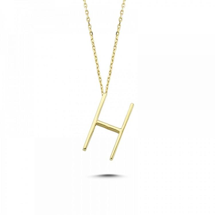 Altın H Harf Kolye
