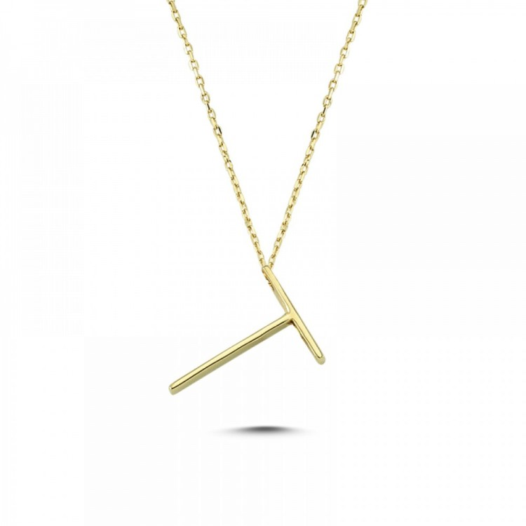 Altın  T Harf Kolye