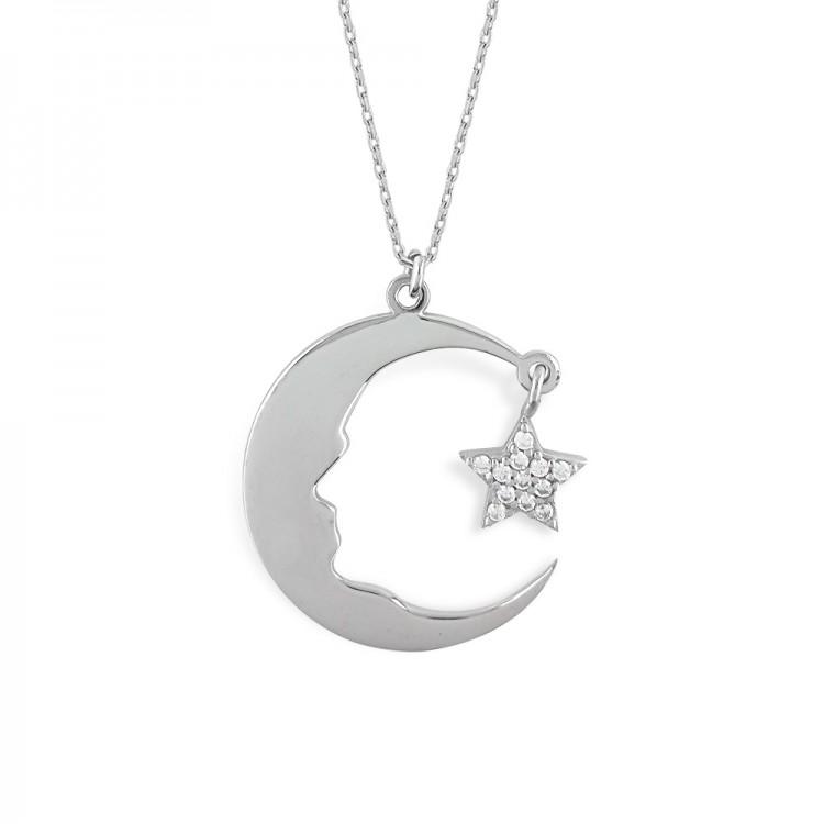 Gümüş Ay Yıldız Atatürk Silüeti Kolye