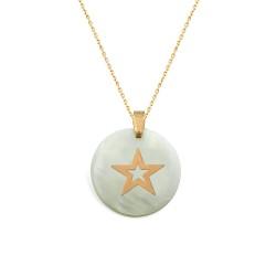 Gümüş Sedef Taşlı Yıldız Kolye