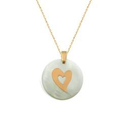 Gümüş Sedef Taşlı Kalp Kolye