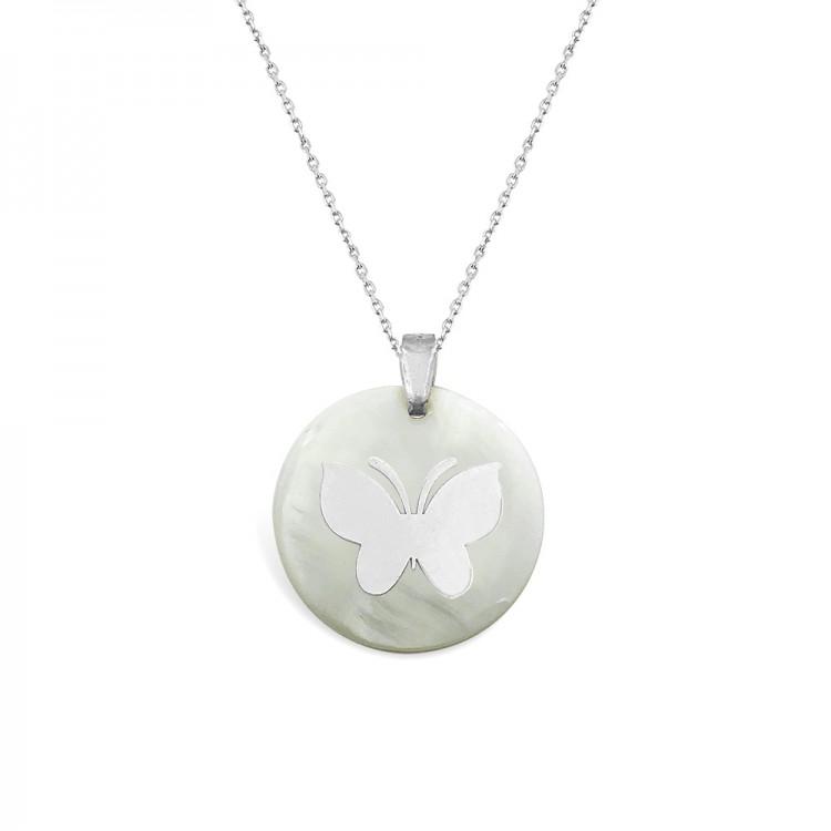 Gümüş Sedef Taşlı Kelebek Kolye
