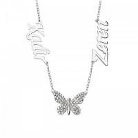 Gümüş İsimli Kelebek Kolye