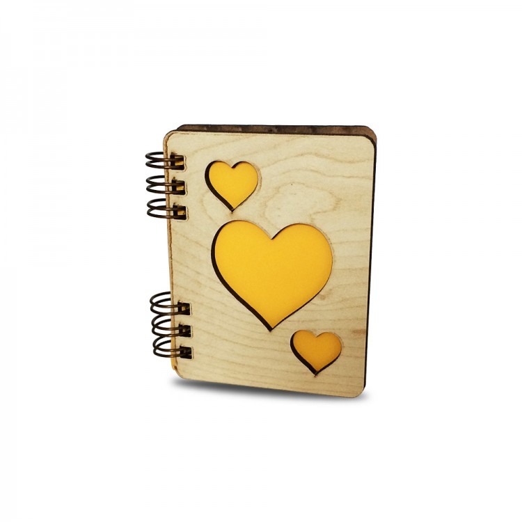 Ahşap Kalpli Notebook